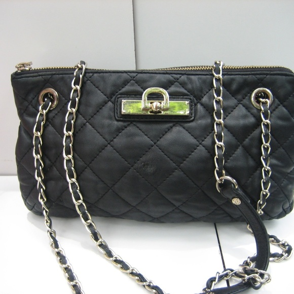 Dkny Bags | Black Quilted Leather Chain Strap